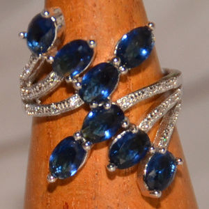 925 sterling silver ring blue crystal size 8